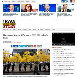 Owners of Zuccotti Park owe $139,000 in back taxes