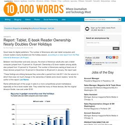 Report: Tablet, E-book Reader Ownership Nearly Doubles Over Holidays - 10,000 Words