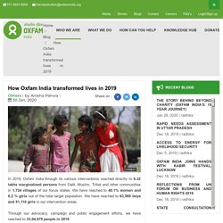 How Oxfam India changed lives in 2019