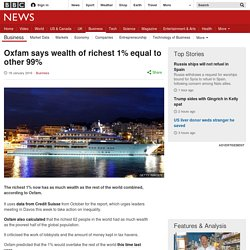 Wealth of richest 1% 'equal to other 99%'