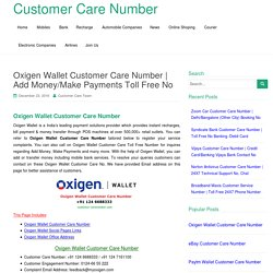 Oxigen Wallet Customer Care Number