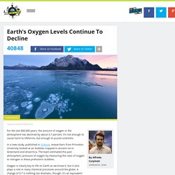 Earth's Oxygen Levels Continue To Decline