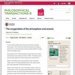 The oxygenation of the atmosphere and oceans