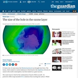 The size of the hole in the ozone layer
