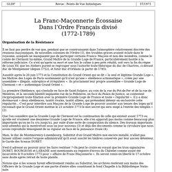 La Franc-Maçonnerie Écossaise dans l'Ordre Français divisé 1772-1789