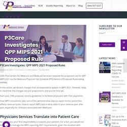 P3Care Investigates QPP MIPS 2021 Proposed Rules