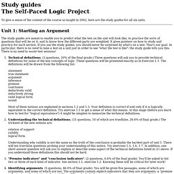 The Self-Paced Logic Project: Study guides