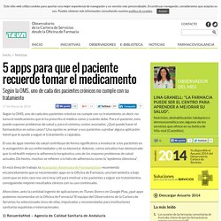 5 apps para que el paciente recuerde tomar el medicamento