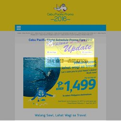 Cebu Pacific Flight Schedule Promo Fare 2017
