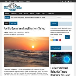 Pacific Ocean Iron Level Mystery Solved