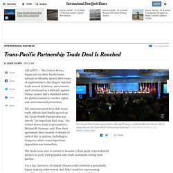 Trans-Pacific Partnership Trade Deal Is Reached