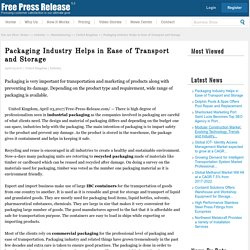 Packaging Industry Helps in Ease of Transport and Storage