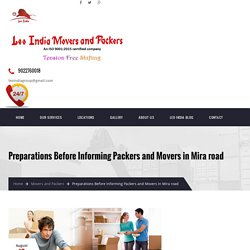 Preparations Before Informing Packers and Movers in Mira road