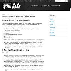 Canoe, Kayak, & Stand-Up Paddle Sizing