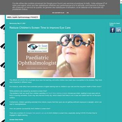 Adelaide SA: Reduce Children's Screen Time to Improve Eye Care