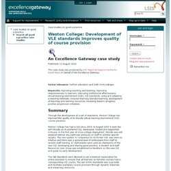 Weston College: Development of VLE standards improves quality of course provision