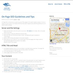 On Page SEO Guidelines and Tips | Azure Web Design