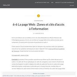 6-6 La page Web : Zones et clés d'accès à l'information