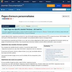 Pages d'erreurs personnalisées