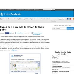Pages can now add location to their posts