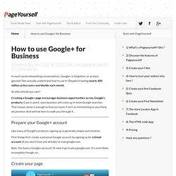 Comment utiliser Google+ pour votre Entreprise