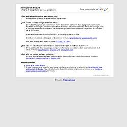 Página de diagnóstico de Navegación segura de Google de www.google.com