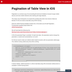 Pagination of Table View in IOS
