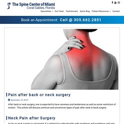 Pain After Back or Neck Surgery