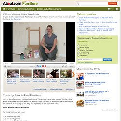 Paint Furniture - How To Paint Furniture Video