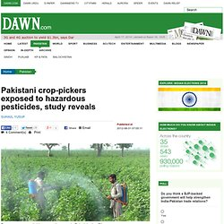 DAWN 31/08/12 Pakistani crop-pickers exposed to hazardous pesticides, study reveals