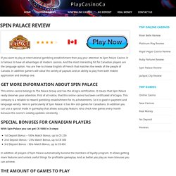 Spin Palace Casino Review & Rating - PlayCasinoCA