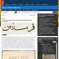 A Jawi sourcebook for the study of Malay palaeography and orthography