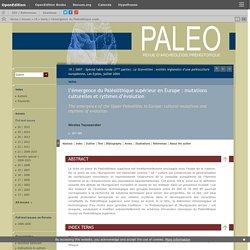 l'émergence du Paléolithique supérieur en Europe: mutations culturelles et rythmes d'évolution