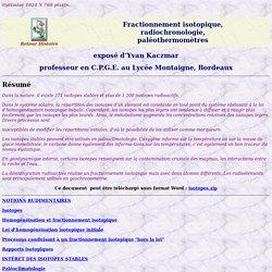 Fractionnement isotopique, radiochronologie, paléothermomètres