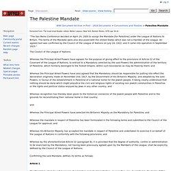 The Palestine Mandate
