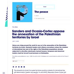 Sanders and Ocasio-Cortez oppose the annexation of the Palestinian territories by Israel