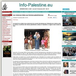 Les violences faites aux femmes palestiniennes <script> identifiant_article = 7705