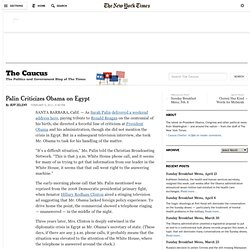 Palin Criticizes Obama on Egypt
