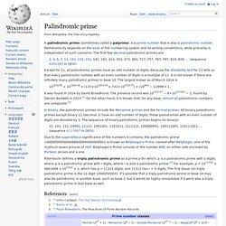 Palindromic prime