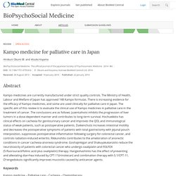 Kampo medicine for palliative care in Japan