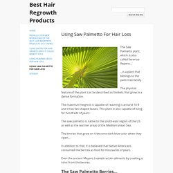 Using Saw Palmetto For Hair Loss - Best Hair Regrowth Products