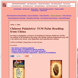 Chinese Palmistry - TCM: traditional medicine & Palm Reading from China!