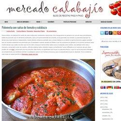 Palometa con salsa de tomate y calabaza