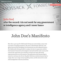 Panama Papers: John Doe's Manifesto