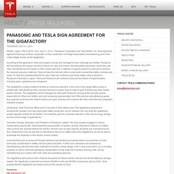 Panasonic and Tesla Sign Agreement for the Gigafactory