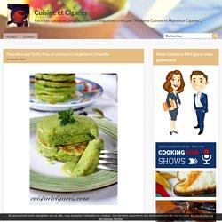 Pancakes aux Petits Pois et sa Sauce Courgettes et Menthe