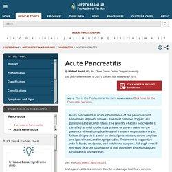 Acute Pancreatitis - Gastrointestinal Disorders