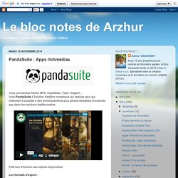 Le bloc notes de Arzhur: PandaSuite : Apps richmédias