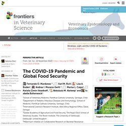 FRONT. VET. SCI. 10/11/20 The COVID-19 Pandemic and Global Food Security