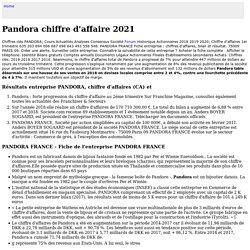 Pandora chiffre d'affaire 2021 - en 2021, son chiffre d'affaires s'est établi à